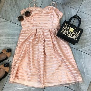 The Limited Event Peach Overlay Striped Dress